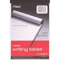 """Mead Ruled Writing Tablet 6""""X9""""-100 Sheets - White"""