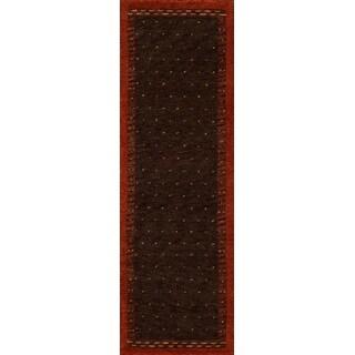 Momeni Desert Gabbeh Oakley Brown/Orange Wool Transitional Runner Rug (2'6 x 8')