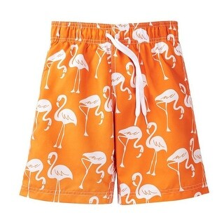 Azul Boys Orange Flamingos Print Drawstring Tie Swimwear Shorts