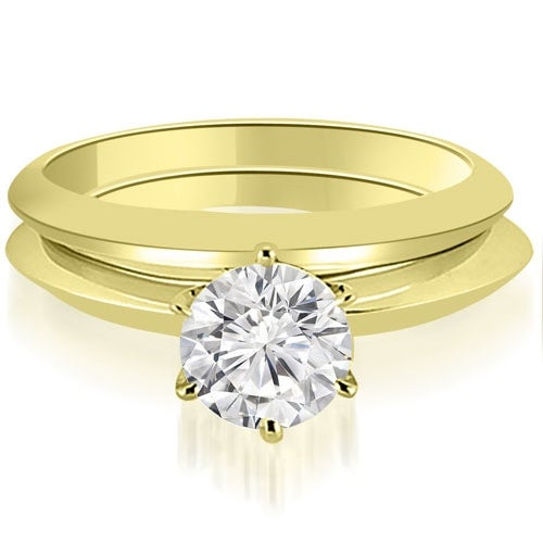 1/2ct 14K Yellow Gold Knife Edge Round Cut Solitaire Engagement Matching Set HI, SI1-2