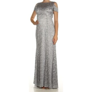 Womens Silver Short Sleeve Full-Length Fit + Flare Formal Dress Size: 8