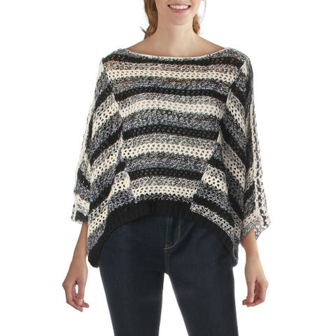 Free People Womens Pearl Searching Pullover Sweater Linen Open Stitch