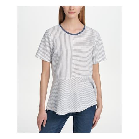 DKNY Womens White Pinstripe Short Sleeve Peplum Top Size S
