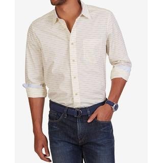 Nautica NEW White Ivory Mens Size Medium M Button Down Cotton Shirt
