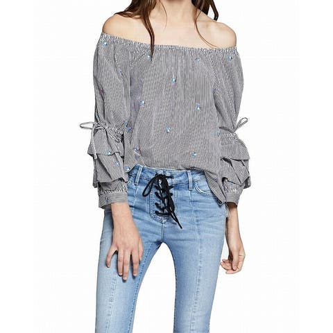 b30b8f61efec Sanctuary Gray Women's Size Small S Striped Off-Shoulder Blouse