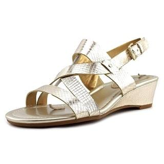 Chaps Ressa Women Open Toe Synthetic Gold Wedge Sandal