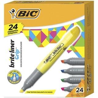 BIC Brite Liner Grip Tank Highlighter, Chisel Tip, Assorted Colors, Pack of 24
