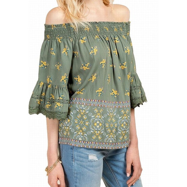 Angie Green Womens Size Medium M Crochet Off Shoulder Floral Blouse