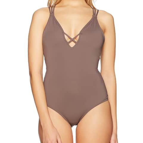 O'Neill Brown Women's Size Small S One-Piece Solid Strappy Swimwear
