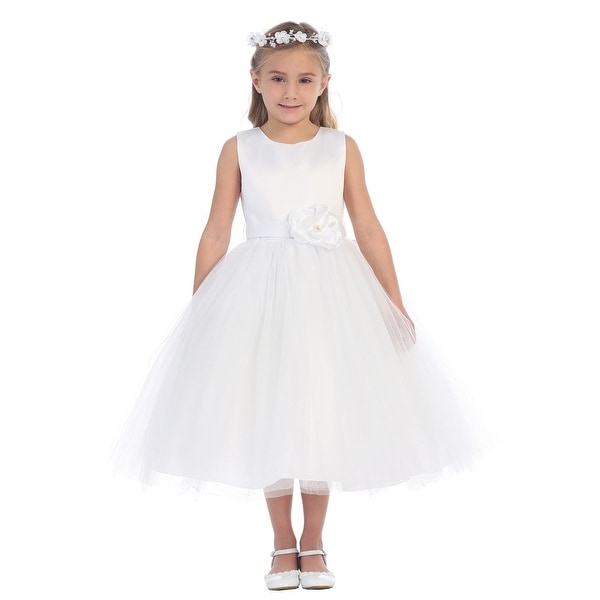 2ccdb0dc0c6c Shop Little Girls White Satin Floral Accented Glitter Tulle Flower Girl  Dress - Free Shipping Today - Overstock - 18171010