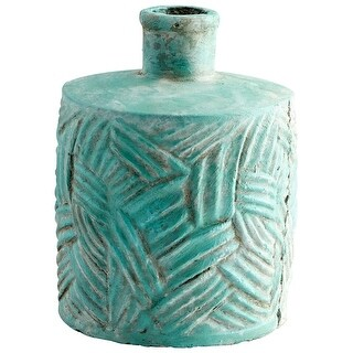 "Cyan Design 09621  Chenille 8"" Diameter Cement Vase - Antique Green"