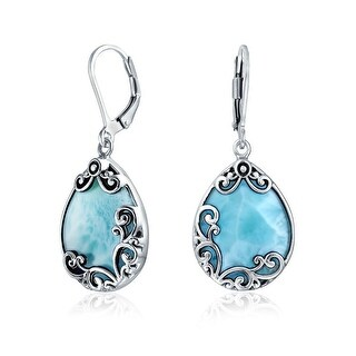 Bling Jewelry Teardrop 925 Silver Natural Larimar Leverback Earrings - Blue