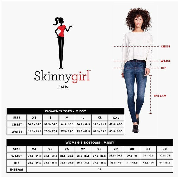 Skinnygirl Womens The The Skinny Ankle in Injeanious Stretch Denim