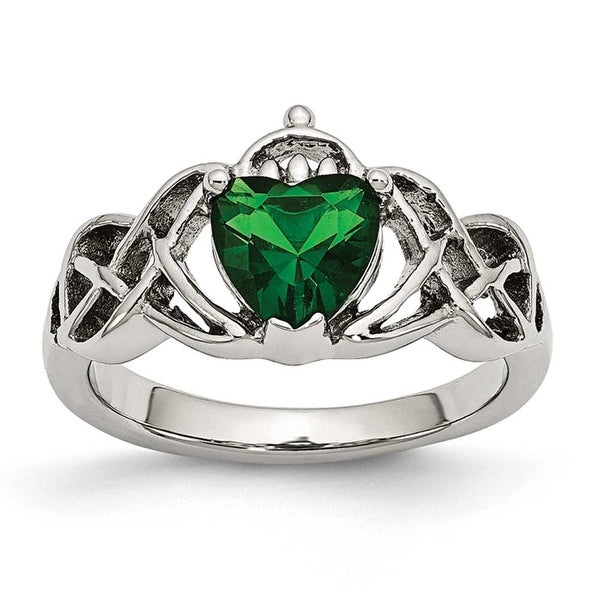 Stainless Steel Polsihed with Green Heart CZ Claddagh Ring