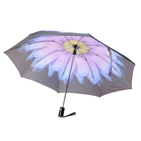 "Purple Black Daisy Flower Foldable Waterproof Auto Open Umbrella - 12"""