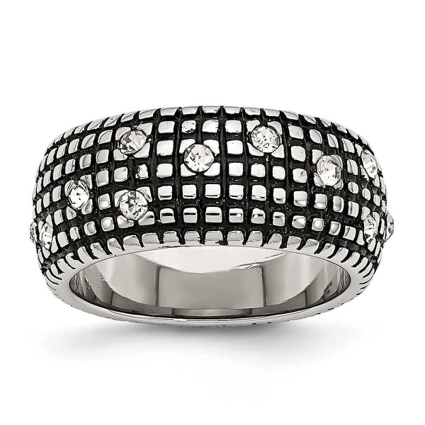 Chisel Stainless Steel Crystal Antiqued Ring (10 mm)