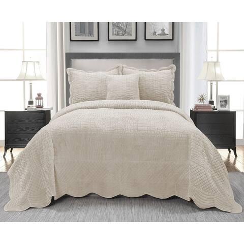 Siena 4-piece Faux Fur Bedspread Set