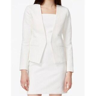 Michael Kors NEW White Womens Size 10 Jacquard-Print Flyaway Blazer