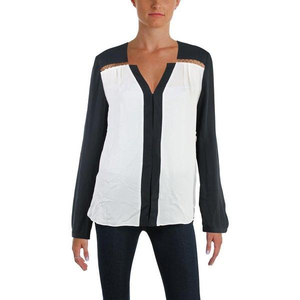 60ed4aabb0375 Shop Elie Tahari Womens Deshalle Blouse Embellished Colorblock - M ...