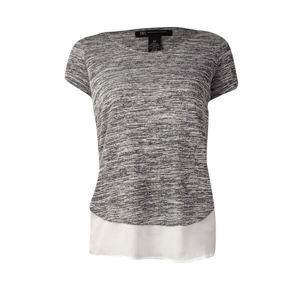 6dad268179b INC International Concepts Women's Layered Slub Knit Top (XS, Vendor Grey)  - Vendor Grey - XS