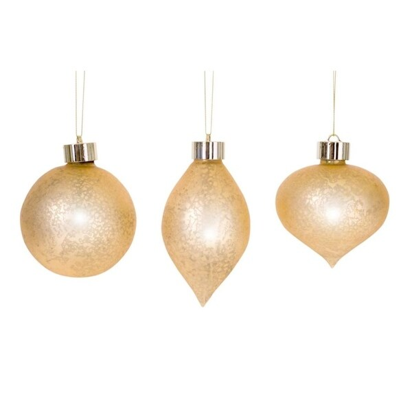 Pack of 6 Unique and Classy Gold LED Antiqued Christmas Glass Ornament with Remote 4""