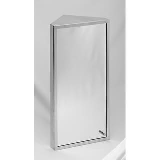 Polished Stainless Steel Medicine Cabinet with Mirror Corner Mount,Three Shelves, Removable Middle Shelf