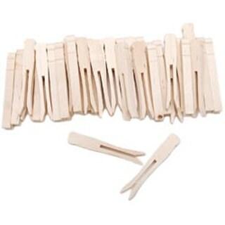 "Natural 3.75"" 40/Pkg - Woodsies No-Roll Clothespins"