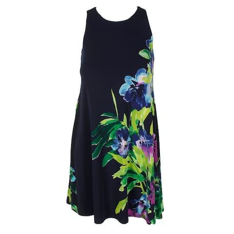 Lauren Ralph Lauren Petite Navy Multi Sleeveless Floral-Print A-Line Dress 0P