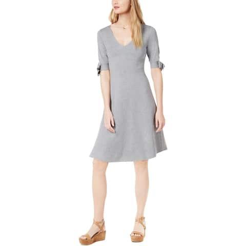 525 America Womens Petites Sweaterdress Knit Tie Sleeves - Heather Grey - PS