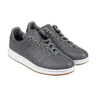 K-Swiss Classic VN Mens Grey Leather Lace Up Sneakers Shoes