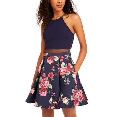 B. Darlin Womens Fit & Flare Dress Floral Mesh I - Navy/Fuschia