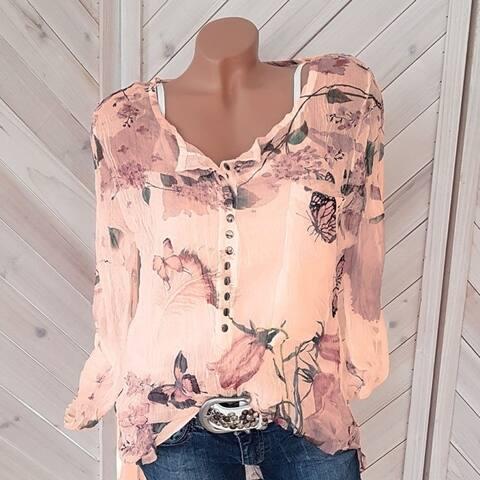 2019 Long Sleeve Printed Shirt V-Neck Button Top Chiffon Shirt