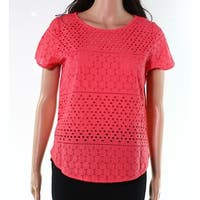 Joules Pink Women's Size 6 Cotton Short Sleeve Eyelet Knit Top