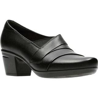 Clarks Women's Emslie Warbler Bootie Black Full Grain Leather