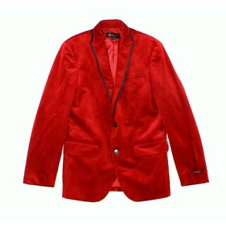 INC NEW Red Mens Size Medium M Velvet Regular-Fit Two Button Blazer