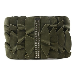 Be & D Ruffled Clutch Leather Clutch - Green