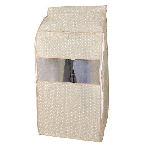 Non-woven Zippered Suit Clothing Protector Cover Bag 95 x 50 x 53cm, White Dot