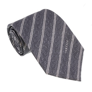 Versace Grey Woven Baroque Stripe Tie
