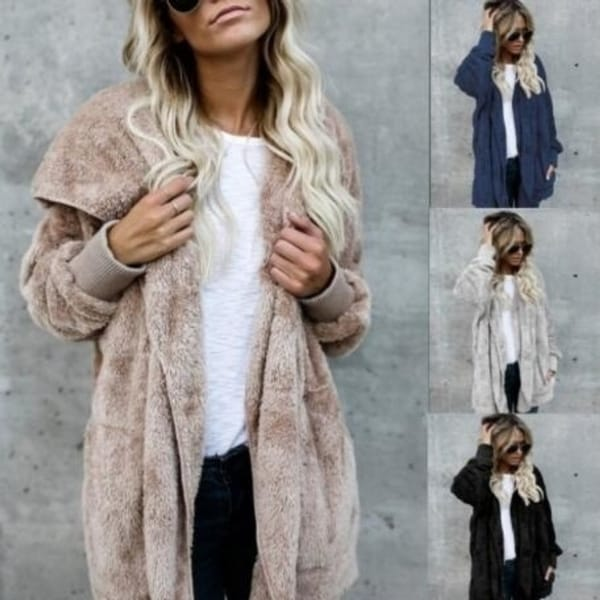 Mid-Length Two-Faced Anti-Fur Coat. Opens flyout.