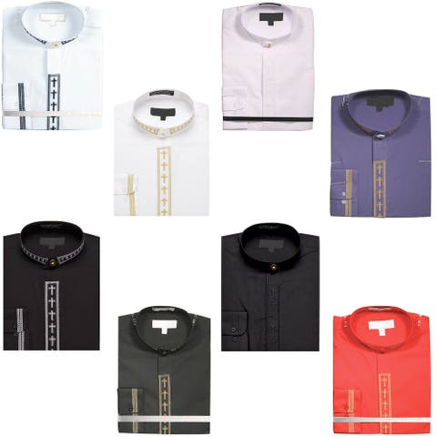 Men's Dress Shirt with Cross Collar Covered Buttons and Cuffs