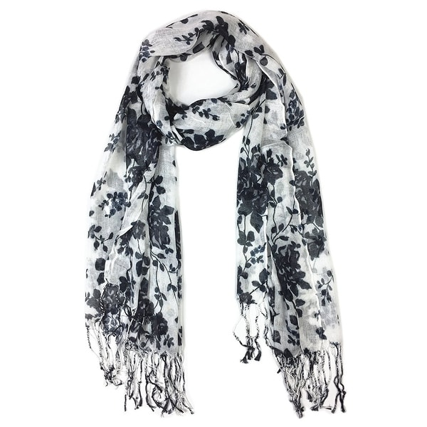 Women's Fashion Floral Soft Wraps Scarves -F1 Black - Large