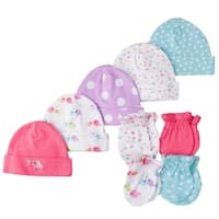 Gerber Baby Girl 9 Piece Cap (0-6M) and Mitten (0-3M) Bundle, Birdie, Newborn
