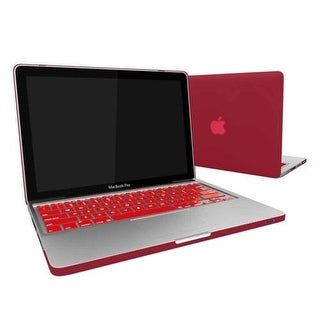 "Rubberized Hard Snap-On Case Cover for Apple MacBook Pro 13"" with Keyboard Skin Fits Model A1278 - Wine Red"
