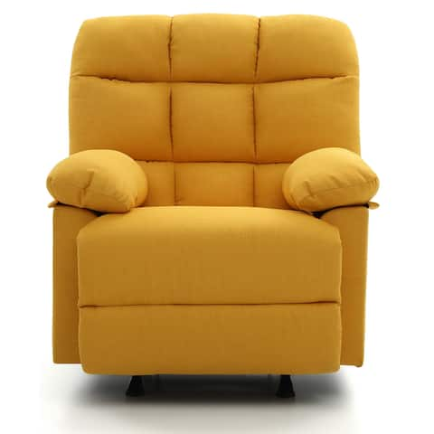 LYKE Home Yelllow Tufted Back Recliner