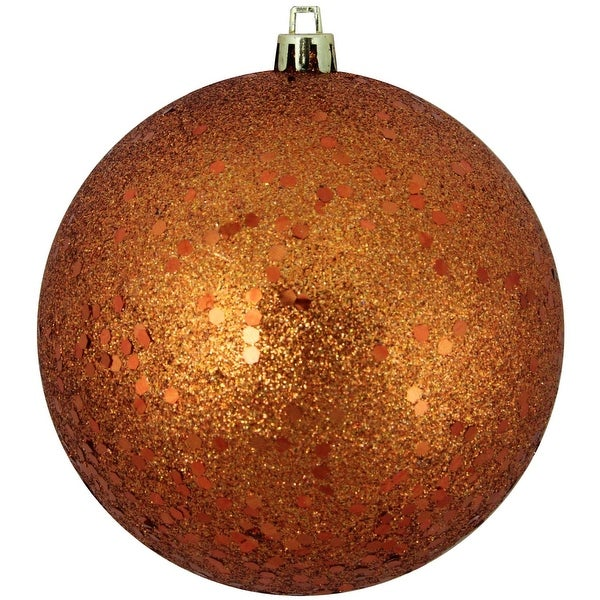 """Burnt Orange Shatterproof Holographic Glitter Christmas Ball Ornament 4"""" (100mm)"""
