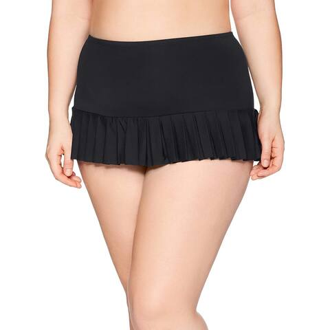 BEACH HOUSE WOMAN Women's Plus-Size Solid Pleated Skirt Swimsuit Bottom, Blac... - 16