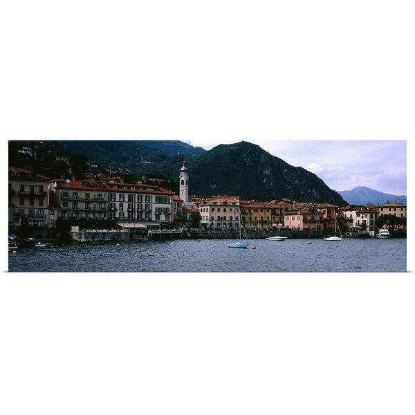 """""""Buildings at the lakeside viewed from a ferry, Lake Como, Menaggio, Como, Lombardy, Italy"""" Poster Print"""