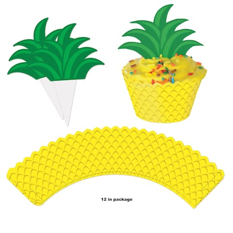 "Club Pack of 144 Pineapple Cupcake Wrapper and Topper Decoration 8"" - Yellow - N/A"
