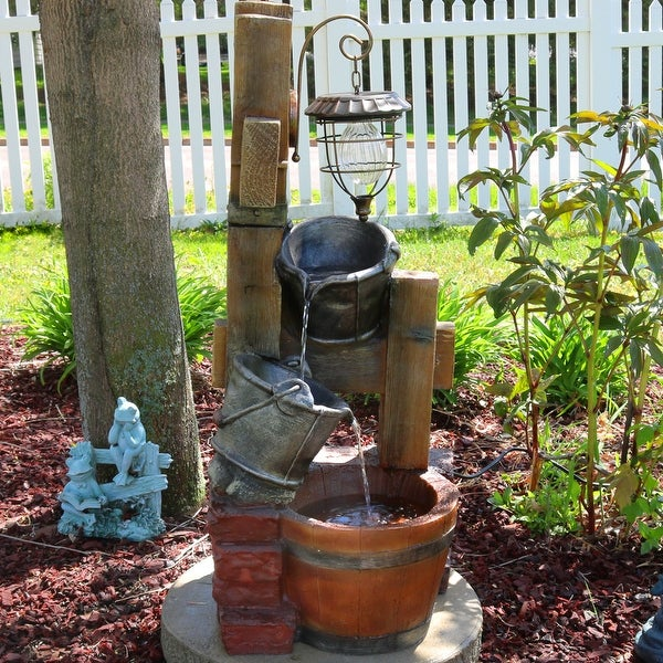 Sunnydaze Rustic Pouring Buckets Outdoor Water Fountain and Solar Lantern - 34-Inch