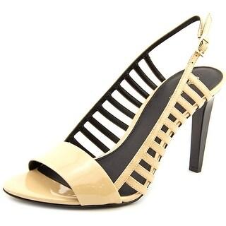 Calvin Klein Nikita Open-Toe Patent Leather Slingback Heel